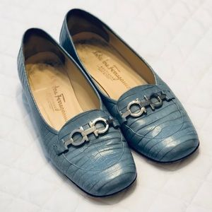 Ferragamo Soft Blue Crocodile Loafers